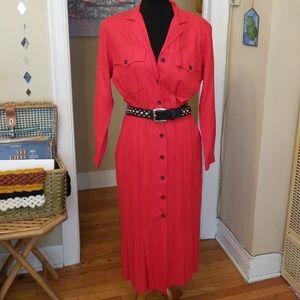 VTG Liz Claiborne Bright Red Buttondown Dress